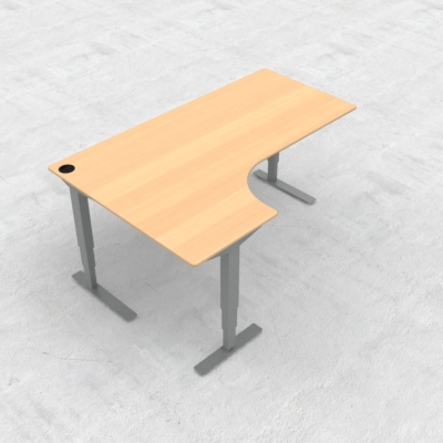 Electric Adjustable Desk | 180x120 cm | Beech with silver frame