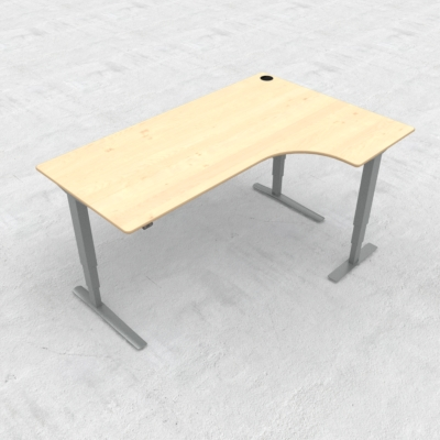Electric Adjustable Desk | 180x120 cm | Maple with silver frame