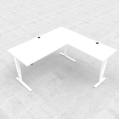 Electric Adjustable Desk | 180x180 cm | White with white frame