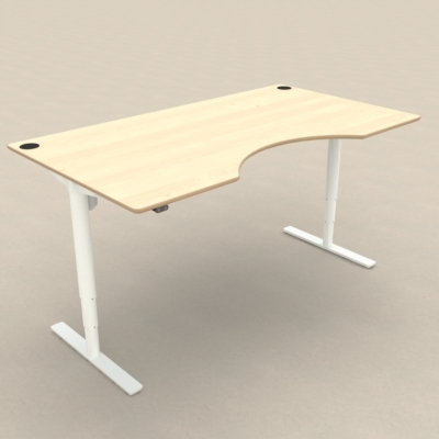 Electric Adjustable Desk | 180x100 cm | Maple with white frame